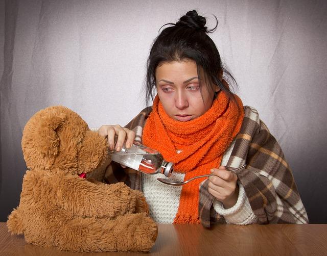 dívka s chřipkou